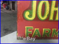Vintage John Deere Porcelain Gas Auto Tractors Farm Pump Plate Old Barn Sign