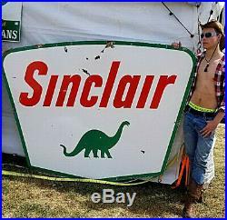 Vintage LG Porcelain Sinclair Dino Oil Gas Gasoline Sign Service Station 84X60