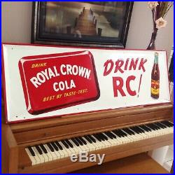 Vintage Large 1955 RC COLA Soda Pop Embossed 54x18 Metal Sign