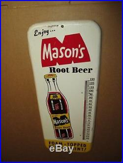Vintage MASON'S ROOT BEER Bottle Tin Soda Non Porcelain Thermometer SignSWEET