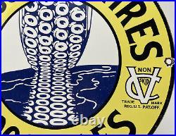 Vintage Michelin Tires Porcelain Sign Bibendum Motorcycle Gas Station Motor Oil