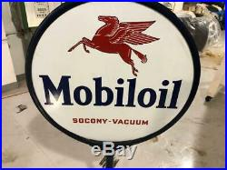 Vintage Mobil Oil Pegasus Porcelain Double-Sided Lollipop Sign
