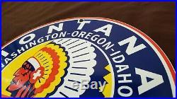 Vintage Montana Gasoline Porcelain Gas Washington Chief Service Station Sign