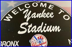 Vintage New York Yankee's Porcelain Stadium Sign Gas Oil Pump Plate Bronx Ny Mlb