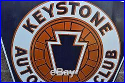 Vintage Official Garage Keystone Automobile Club Double Sided Porcelain Sign