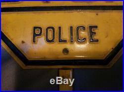 Vintage Old Embossed School Crossing Police Metal Road Sign