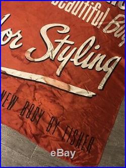 Vintage Original 1940's Chevrolet Chevy Dealer Showroom Banner Sign