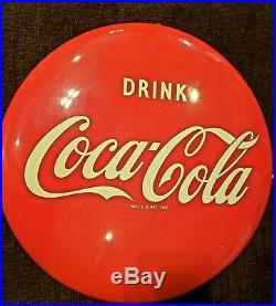 Vintage Original 1948 Porcelain on Metal Coca Cola Advertising Button Sign