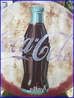 Vintage Original 1950s Art Deco Coca Cola Button Advertising Sign 48 inch metal