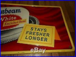 Vintage Original 1957 SUNBEAM GIRL BREAD GROCERY STORE Metal Advertising SIGN