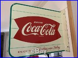 Vintage Original Coca Cola Fishtail Flange Sign AM51