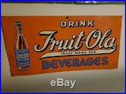 Vintage Original Drink Fruit-Ola Beverages Embossed Tin Litho Advertising Sign