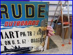 Vintage Original Evinrude Outboard Motor Embossed Tin Lithogrph Sign As Is Sign