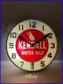 Vintage Original Kendall Oil Clock Light Wall Decor Sign Gas Station Bar Pub