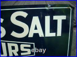 Vintage Original MORTON'S SALT IT POURS Embossed Metal Tin Sign 28 x 10