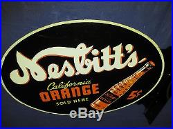 Vintage/Original NESBITT'S Orange Soda Metal Flange Sign MUST SEE! 40sWOW! LQQK
