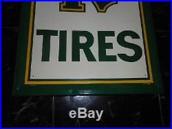 Vintage Original VERTICAL MOHAWK TIRES Metal Advertising GAS OIL SIGN NOS