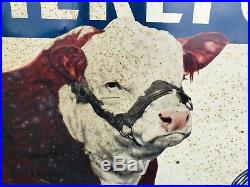 Vintage POLLED HEREFORDS WAGON WHEEL RANCH Sign farm cow holstein dairy milk