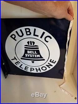 Vintage Porcelain BELL SYSTEM PUBLIC TELEPHONE Sign Double Sided Flange 18x18