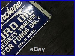 Vintage Porcelain Ford Magnolene 2 Sided Enamel Sign 22.5''X 16''. Flange 2'' $48