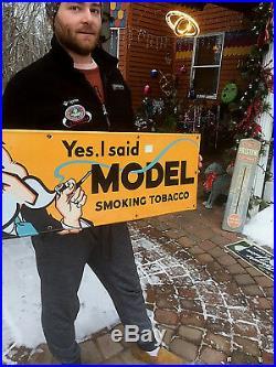 Vintage Porcelain Metal Model Smoking Tobacco Sign W Professor Graphic 34inX12