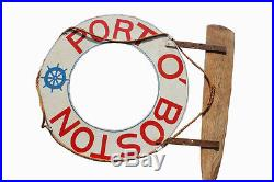 Vintage Port O' Boston Sign from a 1940s Boston Waterfront Restaurant Antique