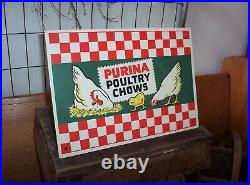 Vintage Purina Poultry Chows Metal Sign 1950s Old Chicken Feed Seed Farm Adv