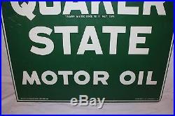 Vintage Quaker State Motor Oil Gas Station 2 Sided 29 Metal Sign