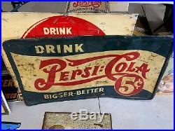 Vintage RARE Pepsi 5 Cent Drink Pepsi Double-Dot Metal Sign Original GAS OIL COL