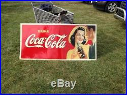 Vintage RARE Size Coca-Cola Metal Sign 1930's Girl GAS OIL SODA COLA 9/10