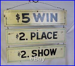 Vintage Race Betting Sign For Race Track Amusement Park Carnival