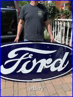 Vintage Rare Lg Ford Motor Co Metal Porcelain Sign Gasoline Oil Gas 72x36