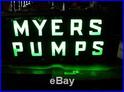 Vintage Rare Myers Pumps Lighted Art Deco Sign, Amazing Green Glow, Back Lit