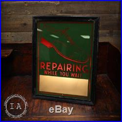 Vintage Reverse Painted Glass Shoe Repair Light Sign Advertising Sign Not Neon