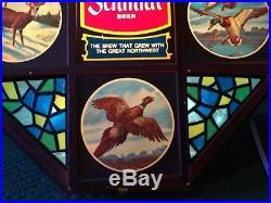 Vintage Schmidt Beer Lighted Wildlife Octagon Sign Pheasant Deer Pike Duck Works