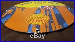 Vintage Shell Gasoline Porcelain Gas California Service Station Pump Plate Sign