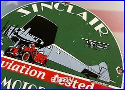Vintage Sinclair Aviation Tested Motor Oil & Gasoline Porcelain Sign Service