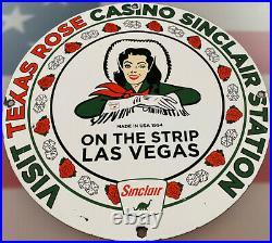Vintage Sinclair Gasoline Porcelain Sign Gas Station Motor Oil Texas Rose Casino