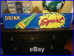 Vintage Squirt Soda Sign Double Sided Country Store Bag Holder Early 1940's Rare