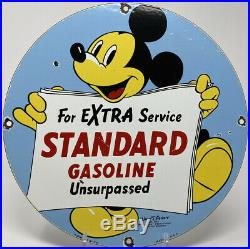 Vintage Standard Gasoline Porcelain Sign Gas Station Motor Oil Disney Mickey