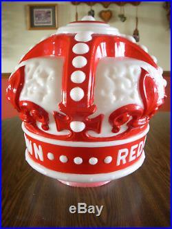 Vintage Standard Red Crown Gasoline Raised Letter Gas Pump Globe