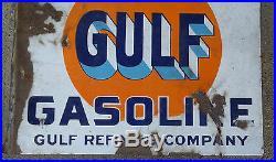 Vintage That Good Gulf Gasoline Flange Porcelain Hanging Sign-Gas Station