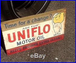 Vintage Uniflo Motor Oil Metal Sign With Graphics Gasoline Service Station 18X11