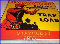 Vintage Winchester Ranger Trap Load 23 Porcelain Metal Ammo Bullet Gun Gas Sign