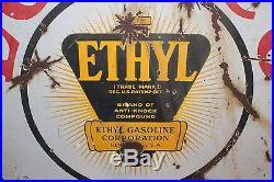 Vintage c. 1930 Loreco Ethyl Gas Station 2 Sided 30 Porcelain Metal Sign