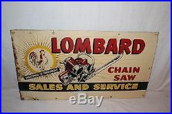 Vintage c. 1950 Lombard Chain Saw Farm Tool Gas Oil 27 Metal Sign