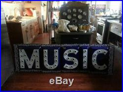 Vintage cobalt music sign 1900s porcelain sign