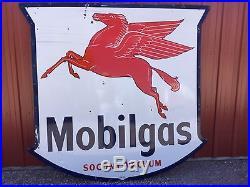 Vintage large Mobilgas Pegasus Socony Vacuum porcelain advertising sign