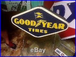 Vintage lg 58 Metal Goodyear Tire Display Sign Gas Oil Gasoline Service Station