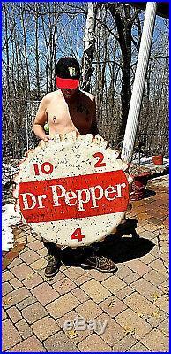 Vintage old original Rare 1963 Dr Pepper Soda Pop Metal bottle cap Sign 38X38